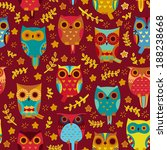 cute owls vector seamless... | Shutterstock .eps vector #188238668