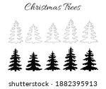 black line christmas trees...   Shutterstock . vector #1882395913
