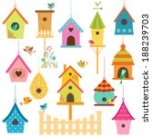 Set Of Colorful Bird Houses.