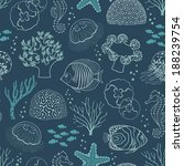 underwater seamless pattern on... | Shutterstock .eps vector #188239754