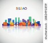bilbao skyline silhouette in... | Shutterstock .eps vector #1882491859