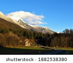 View Of Snow Covered Peaks In...