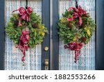 Two Colorful Christmas Wreaths...