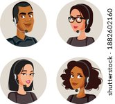 call center agents avatars... | Shutterstock .eps vector #1882602160