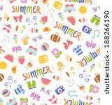 seamless summer things doodle... | Shutterstock .eps vector #188266190