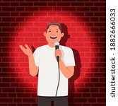 stand up comedian performance.... | Shutterstock .eps vector #1882666033