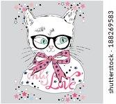 lovely cat  hand draw animal ... | Shutterstock .eps vector #188269583