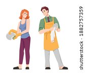 couple wash and dry dishes ... | Shutterstock .eps vector #1882757359