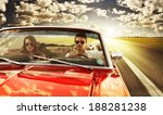 couple taking a road trip in... | Shutterstock . vector #188281238
