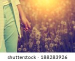 woman with bunch of dandelion... | Shutterstock . vector #188283926