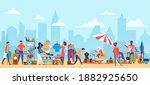 people in flea market vector...   Shutterstock .eps vector #1882925650