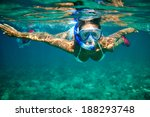young women at snorkeling in... | Shutterstock . vector #188293748