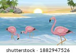 A Flock Of Pink Flamingos In...