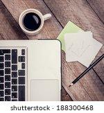 laptop  cup of coffee ...   Shutterstock . vector #188300468