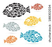 colorful fish shaped abstract... | Shutterstock .eps vector #188302034