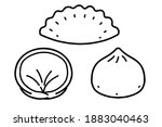 mandu korean dumpling . vector... | Shutterstock .eps vector #1883040463
