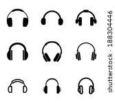 Vector Black Headphone Icons...