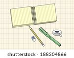 pen and notepad isolated vector ... | Shutterstock .eps vector #188304866