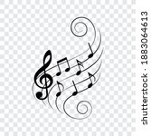 music notes on wavy lines with...   Shutterstock .eps vector #1883064613