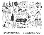 new year eve party doodles  | Shutterstock .eps vector #1883068729