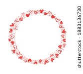 wreath made from doodle hearts. ... | Shutterstock .eps vector #1883136730