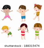 cute summer kids in swimsuit... | Shutterstock .eps vector #188315474