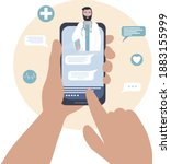 the doctor on the cell phone... | Shutterstock .eps vector #1883155999
