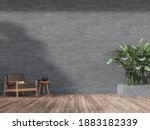 Wooden Terrace With Empty Gray...