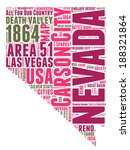 Nevada USA state map vector tag cloud illustration