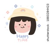 happy time text.cute girl smile ... | Shutterstock .eps vector #1883284423