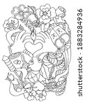 coloring page with love symbols....   Shutterstock .eps vector #1883284936