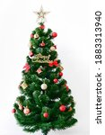 christmas tree with decoration...   Shutterstock . vector #1883313940