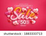 valentine's day sale 50  off... | Shutterstock .eps vector #1883333713