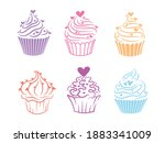 set of cute cupcakes....   Shutterstock .eps vector #1883341009