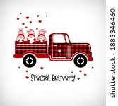 buffalo plaid pickup truck with ... | Shutterstock .eps vector #1883346460