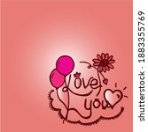 love you hand drawn lettering... | Shutterstock .eps vector #1883355769