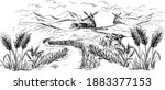 vector drawing of farmer and... | Shutterstock .eps vector #1883377153
