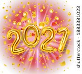 2021 happy new year decoration... | Shutterstock .eps vector #1883381023