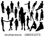 people silhouettes | Shutterstock .eps vector #188341073