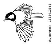 sketch of a tit in flight with...   Shutterstock .eps vector #1883413966