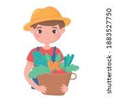 farmer holding basket with...   Shutterstock .eps vector #1883527750