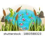 Pond And A Grasshopper Sitting...