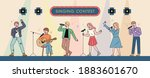 musicians singing in a singing... | Shutterstock .eps vector #1883601670