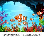 many exotic fishes cartoon... | Shutterstock .eps vector #1883620576