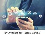 hand holding business world  | Shutterstock . vector #188363468