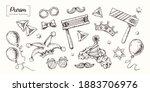 purim. vector hand drawn.... | Shutterstock .eps vector #1883706976