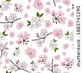 elegant cherry blossom seamless ...   Shutterstock .eps vector #1883741290