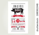barbecue party invitation. bbq...   Shutterstock .eps vector #188381048