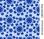 blue flower seamless pattern.... | Shutterstock . vector #188381906