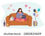 valentine's day celebration... | Shutterstock .eps vector #1883824609